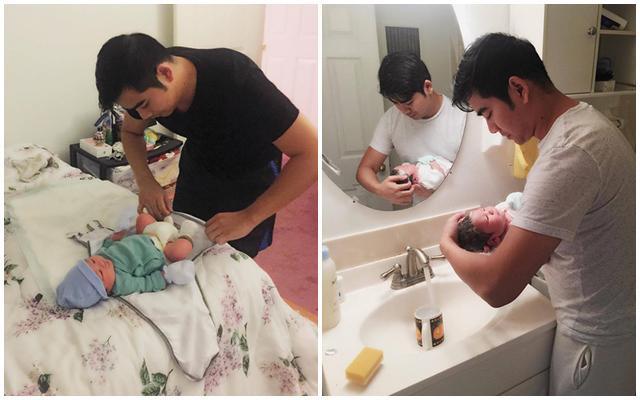 Từ việc cho con ăn, tắm cho con, thay bỉm... Thanh Bình đều làm một cách hết sức thành thạo.