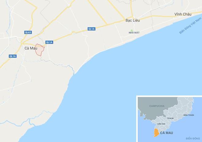 Xã Định Bình (màu đỏ) ở Cà Mau. Ảnh: Google Maps.