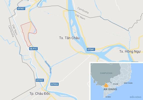 Xã Phước Hưng (khoanh đỏ), nơi xảy ra vụ án mạng. Ảnh: Google Maps.