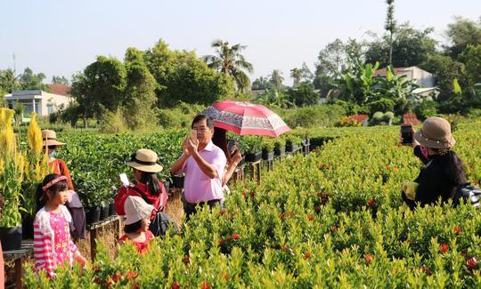 Du khách đến với làng hoa Sa Đéc để ngắm hoa và chụp ảnh lưu niệm