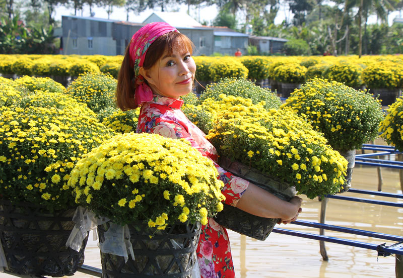 Để chăm sóc hoa, người dân dùng xuồng nhỏ hoặc lội dưới nước. Người trồng hoa cho biết, thời tiết cuối năm ở Nam Bộ là mùa khô, nắng nhiều. Trồng hoa trên giàn tiện cho việc tưới, cũng như hơi nước luôn giữđộẩm cho hoa
