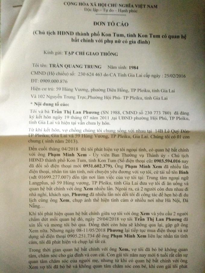 Đơn tố cáo của anh Trần Quang Trung gửi cơ quan báo chí