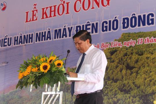 Ông Vương Phương Nam, Phó Chủ tịch UBND tỉnh Bạc Liêu, phát biểu tại buổi lễ khởi công