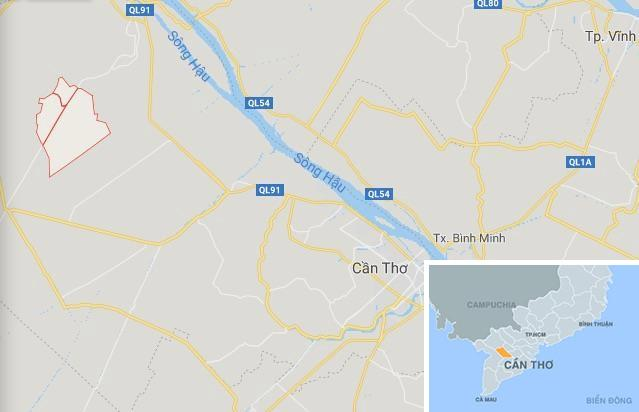Xã Trung Hưng (khoanh đỏ), nơi xảy ra vụ việc. Ảnh: Google Maps.