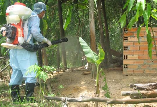 Phun thuốc sát trùng tiêu độc khu vực chuồng trại chăn nuôi gia súc…nhằm phòng, chống bệnh dịch tả heo Châu Phi trên địa bàn. Ảnh: NGUYỄN HUYNH
