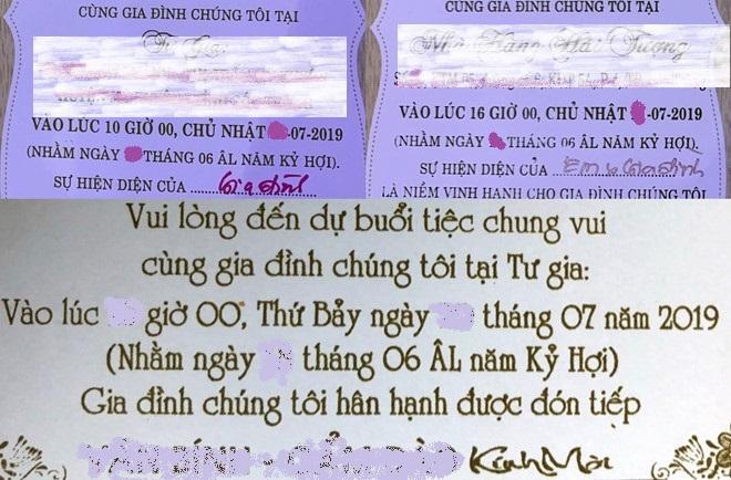 Thiệp cưới bà Đào mời khách dự tiệc 16h ngày 20/7, 10h ngày 21/7 và 16h ngày 21/7. Ngoài ra, bà Đào đã đãi tiệc với sự có mặt của Bí thư Tỉnh ủy Sóc Trăng Phan Văn Sáu vào chiều 19/7. Ảnh: Việt Tường.