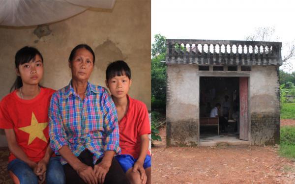 Bà Nguyễn Thị Thành bên hai cháu mồ côi và ngôi nhà đã xuống cấp.