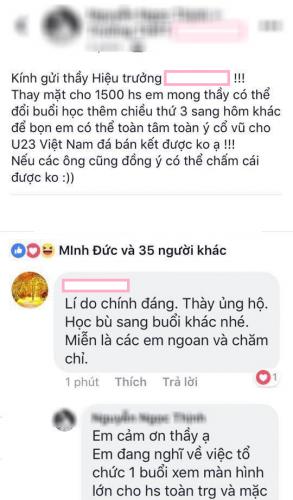 Nam sinh xin thầy hiệu trưởng cho nghỉ học xem U23 Việt Nam đá bán kết và được đồng ý.
