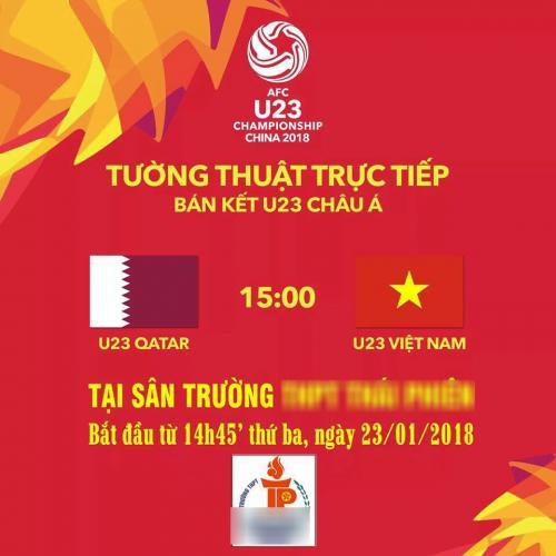 Trường THPT ở Hải Phòng tường thuật trực tiếp trận bán kết U23 Việt Nam gặp Qatar tại sân trường.