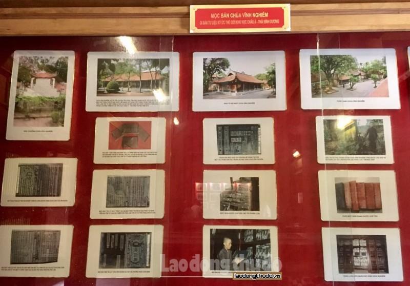 Những hình ảnh về chùa và mộc bản của chùa Vĩnh Nghiêm được trưng bày tại chùa