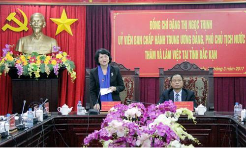 Phó Chủ tịch nước Đặng Thị Ngọc Thịnh phát biểu tại buổi làm việc