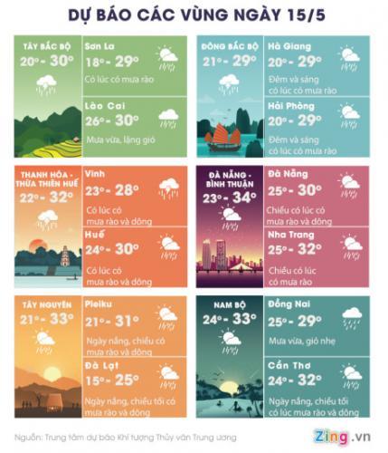Thời tiết các vùng trên cả nước ngày 15/5. Đồ họa: Hoàng Như.