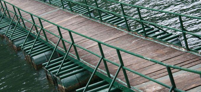 Như để ăn nhập với khung cảnh xanh tươi của hồ Ba Bể, một chiếc cầu phao nối đôi bờ cũng được sơn màu xanh đậm. Cả không gian như được hòa quyện trong một màu xanh ngút ngàn núi rừng.