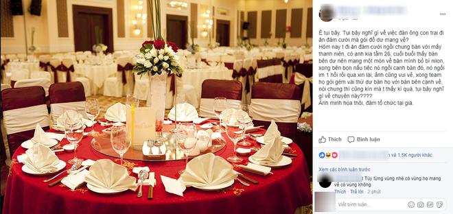 Câu chuyện ăn cỗ cưới mà gói phần mang về được một cô nàng chia sẻ lên một hội nhóm có rất đông thành viên trên mạng xã hội. (Ảnh: Facebook)