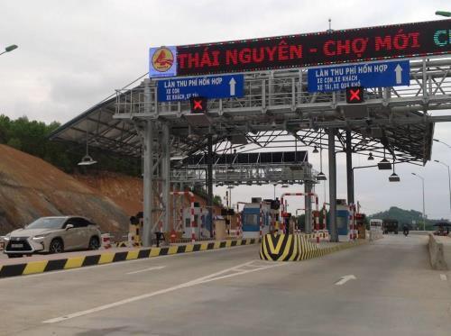 BOT Thái Nguyên - Chợ Mới chính thức thu phí. Ảnh: Quang Toàn/BNEWS/TTXVN