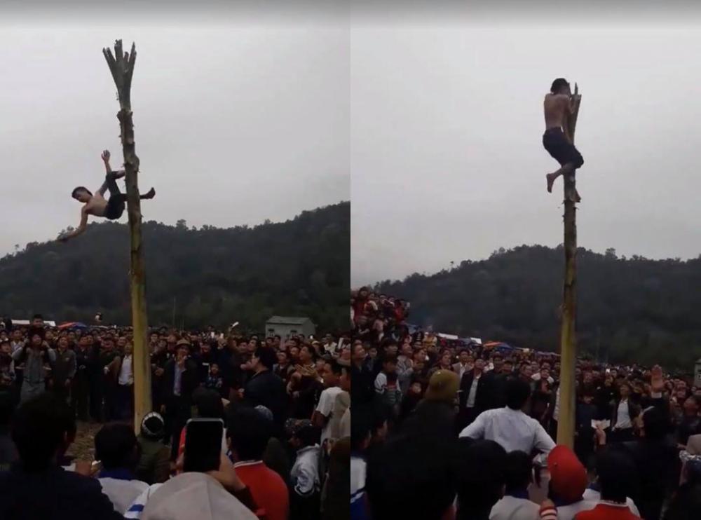 Anh Hoàng Văn Phúc trèo cây chuối và bị ngã xuống đất từ độ cao hàng chục mét (Ảnh cắt từ clip).