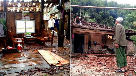 Nhiều ngôi nhà của người dân bị mưa đá là hư hại