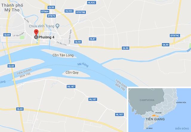 Phường 4 (TP Mỹ Tho, Tiền Giang), nơi xảy ra sự việc. Ảnh: Google Maps.