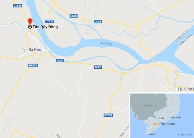 Phường Tân Quy Đông (màu đỏ) ở Đồng Tháp. Ảnh: Google Maps.