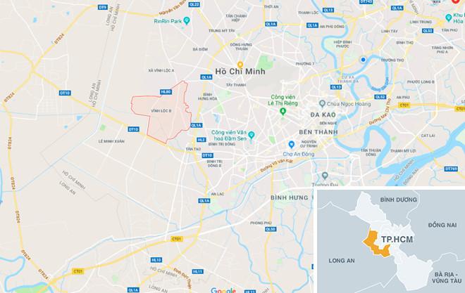 Xã Vĩnh Lộc B, nơi băng trộm chọn quán Internet làm đại bản doanh. Ảnh: Google Maps.