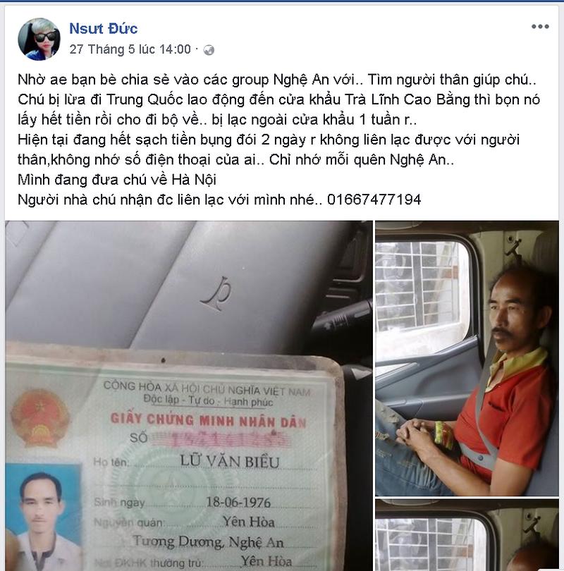 Anh Đinh Văn Đức đã cưu mang và đăng thông tin tìm kiếm người thân cho anh Biều lên Facebook cá nhân.