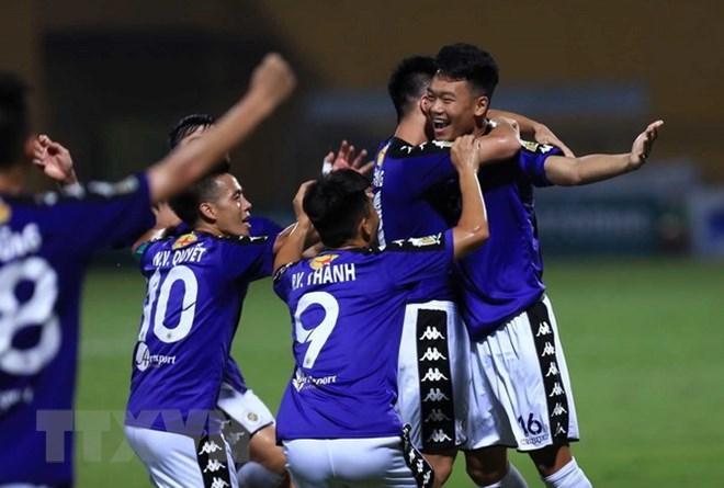 Hà Nội FC đã giành chức vô địch lượt đi. (Ảnh: Trọng Đạt/TTXVN)