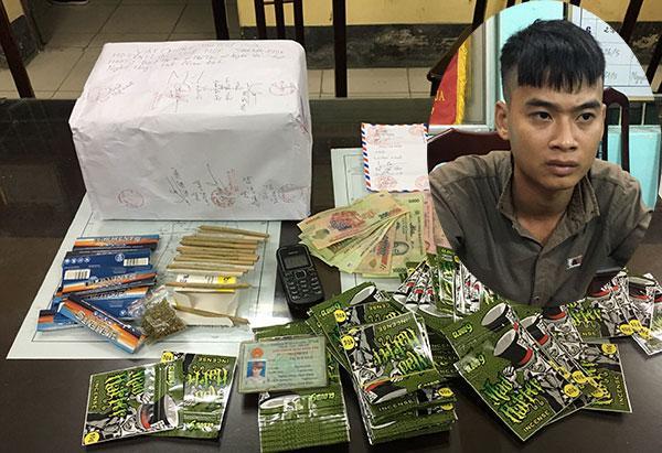 Lại Thế Huề và 1,6 kg cỏ Mỹ bị Phòng Cảnh sát ĐTTP về ma túy Công an tỉnh Nam Định thu giữ.