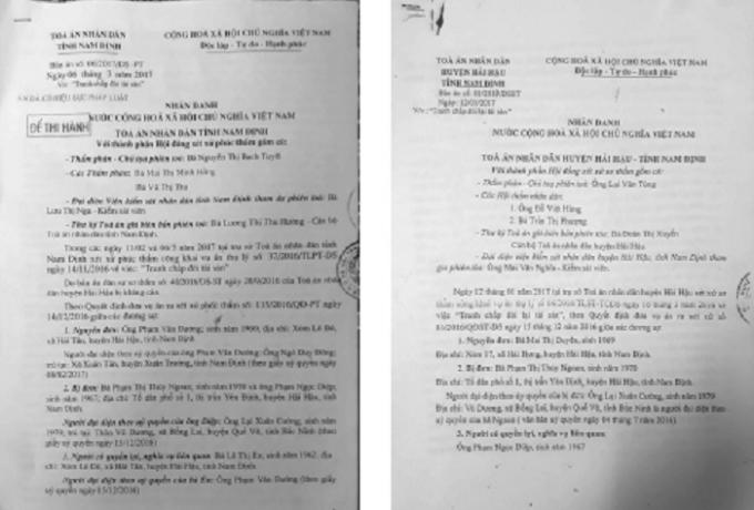 Các bản án yêu cầu vợ chồng ông Diệp trả nợ.