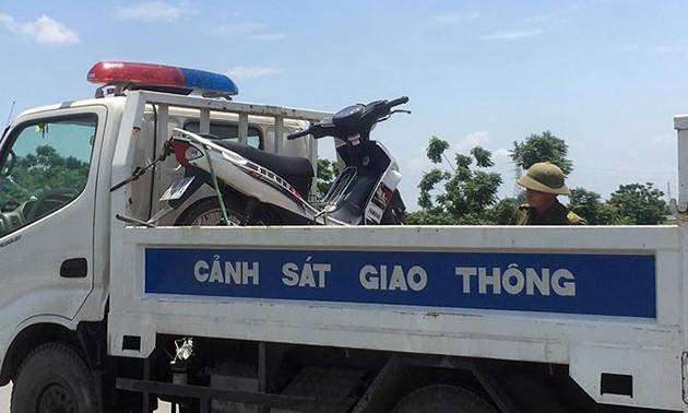 Chiếc xe máy mà hai nạn nhân điều khiển.