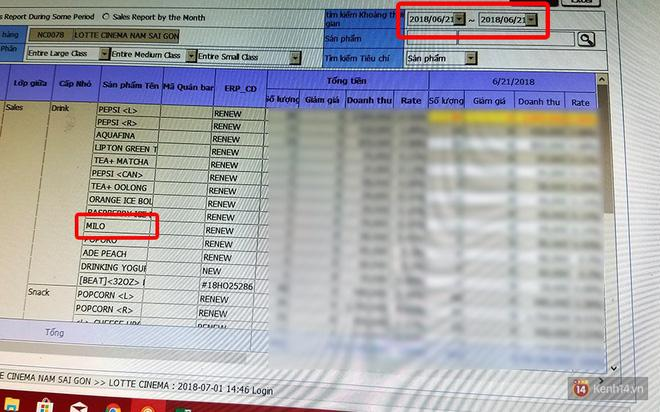 Danh sách các sản phẩm bán trong ngày 21/6 (có nước Milo) và từ ngày 22/6 đến hiện tại (không bán Milo) được Lotte Cinema cung cấp cho chúng tôi làm bằng chứng.