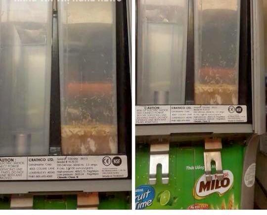 Nhiều khách hàng hoang mang và hãi hùng khi thấy hình ảnh giòi lúc nhúc trong bình pha sữa MIilo tại rạp phim Lotte Cinema.