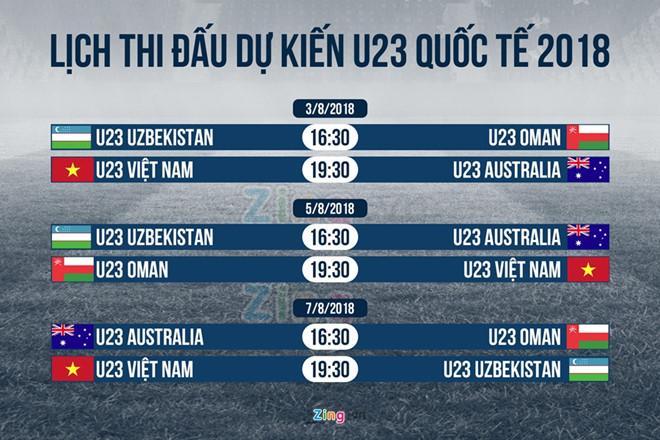 Lịch thi đấu dự kiến của Giải U23 Quốc tế 2018. Ảnh: Minh Phúc.
