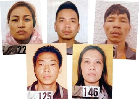 Các đối tượng trong đường dây ma túy của Nguyễn Quốc Hùng bị sa lưới. Ảnh: Người đưa tin.