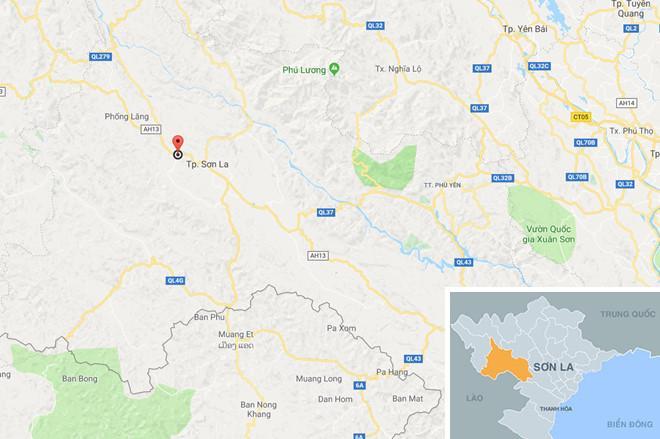 Quốc lộ 6 đoạn qua xã Muội Nọi, huyện Thuận châu, tỉnh Sơn La - nơi xảy ra vụ tai nạn.