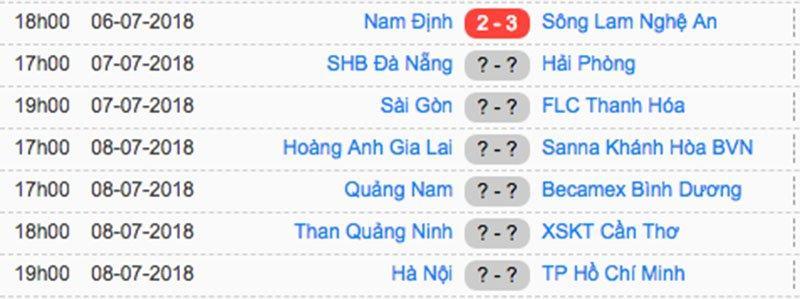 Kết quả vòng 18 V-League