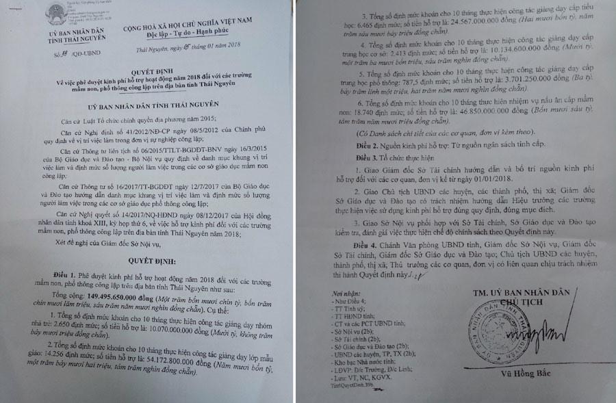 Quyết định chi ngân sách hỗ trợ hoạt động giảng dạy ở tỉnh Thái Nguyên