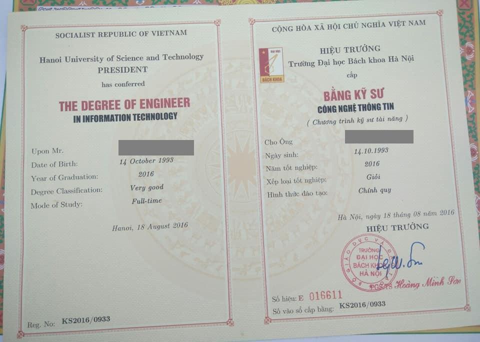 Bằng tốt nghiệp đại học loại giỏi của Phạm Văn Đình