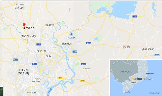 Phường Hiệp An (TP Thủ Dầu Một, Bình Dương), nơi xảy ra vụ việc. Ảnh: Google Maps.