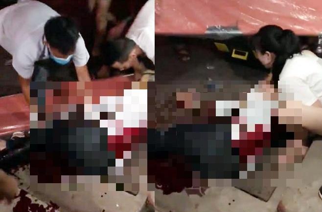 Nam thanh niên được các nhân viên y tế cấp cứu tại hiện trường