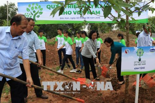 Các đại biểu tham gia Lễ trồng cây. Ảnh: Vũ Hoàng Giang/TTXVN