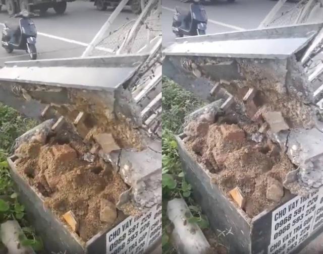 Chân cổng chào toàn cát và đá ở Bắc Ninh.