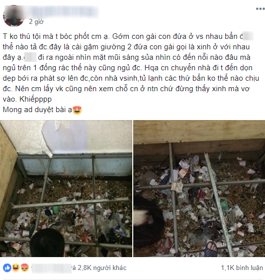 Bức ảnh gầm giường nhà trọ ngập ngụa rác thải của 2 cô gái khiến MXH hết hồn.