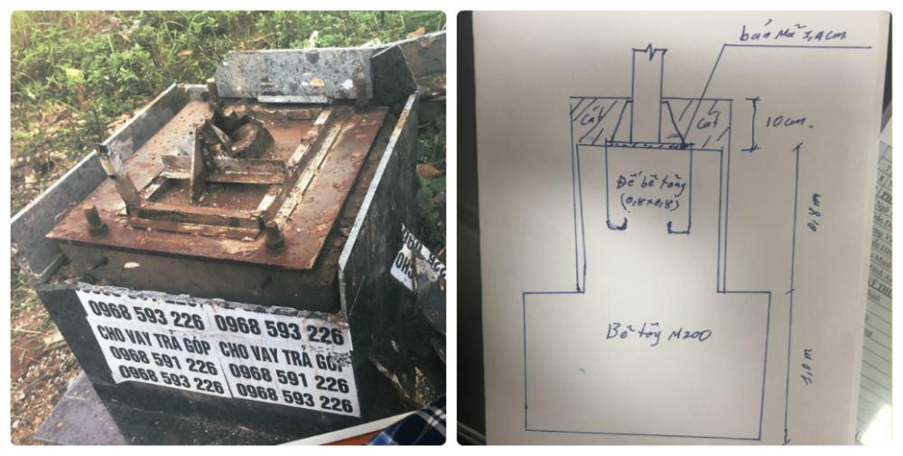 Trụ cột và bản vẽ phác họa do ban QLDA cung cấp.