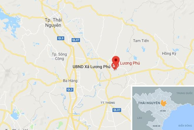 Hiện trường cách TP Thái Nguyên khoảng 30 km. Ảnh: Google Maps.