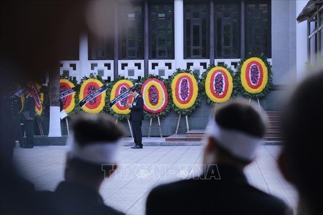 Hình ảnh bên ngoài Nhà tang lễ quốc gia, số 5 Trần Thánh Tông (Hà Nội).