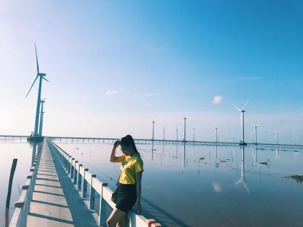 Du khách check-in ở cánh đồng quạt gió Bạc Liêu. (Nguồn: vietnammoi.vn)