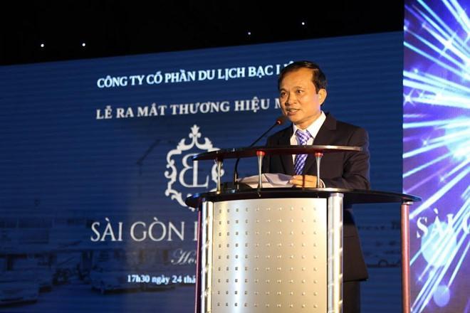 Ông Trịnh Công Vinh, Chủ tịch Hội đồng quản trị phát biểu tại buổi lễ ra mắt thương hiệu khách sạn Sài Gòn Bạc Liêu.