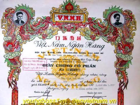 Giấy chứng nhận cổ phần Việt Nam ngân hàng. (Ảnh ông Trần Trinh Trạch trên cùng phía bên phải). (Ảnh Internet)