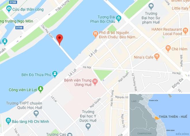 Cầu Phú Xuân (TP Huế), địa điểm người đàn ông ôm con nhảy sông tự tử. Ảnh: Google Maps.