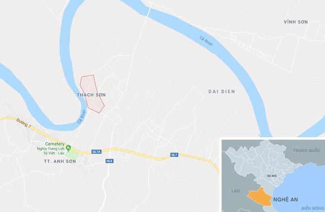 Xã Thạch Sơn (dấu chấm đỏ), nơi Công thực hiện các vụ trộm trước khi bỏ trốn. Ảnh: Google Maps.